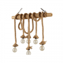 Wooden chandelier with rope