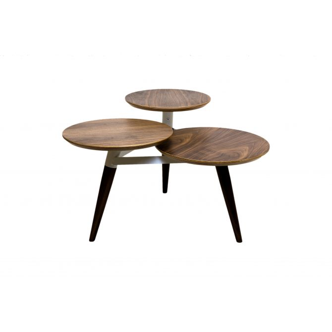 Table en bois Clover aux trois plateaux ronds