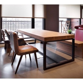Solid wood and metal table - Camila