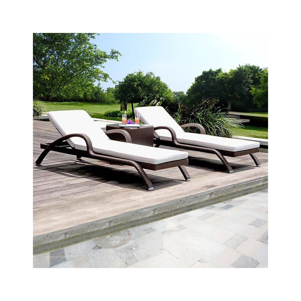 Garden Rattan Lounge Chair Set Outdoor Table Diiiz Com