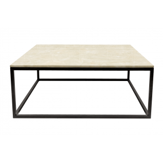 Long Rectangular Tan Marble Coffee Table