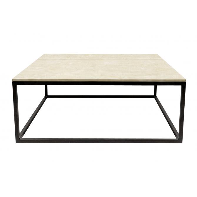 Longue Table basse rectangulaire  en marbre beige