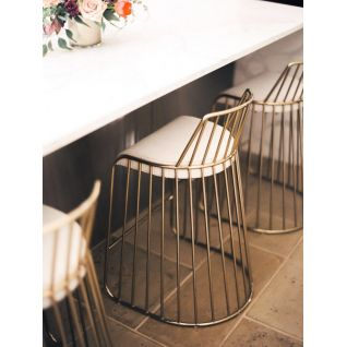 Chaise de bar haute dorée Veil's Bride