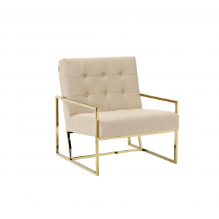 Fabric and velvet Lyon armchair- golden frame