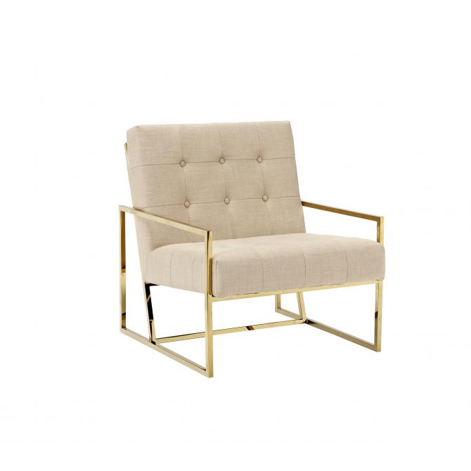 Fabric and velvet Lyon armchair- golden frame