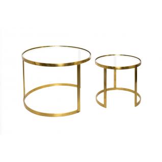 Set de deux tables basses rondes en cuivre et verre AULA