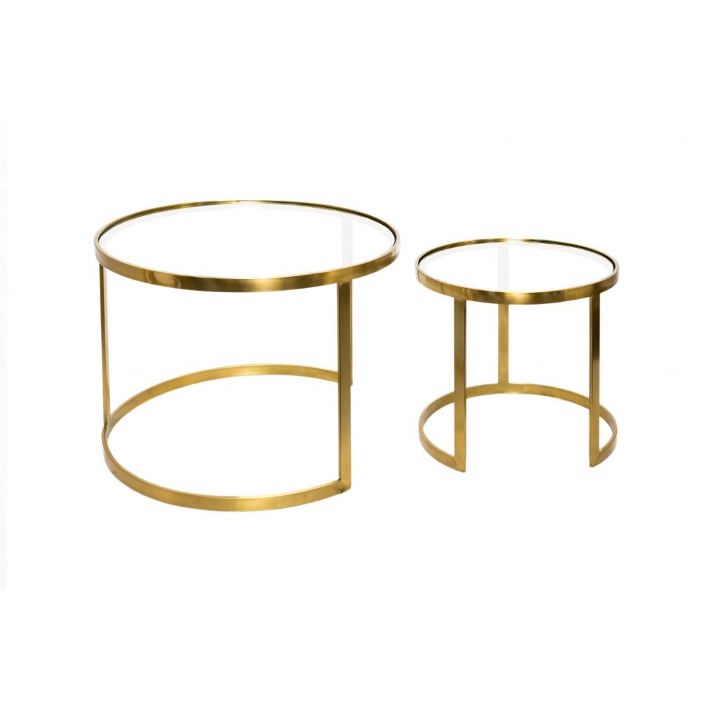 Table Basse Ronde Verre.Set De Deux Tables En Verre Et Laiton Aula Cuivre Diiiz