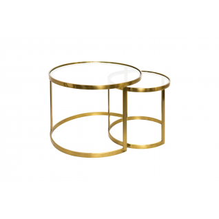 Set van twee salontafels AULA in koper en glas