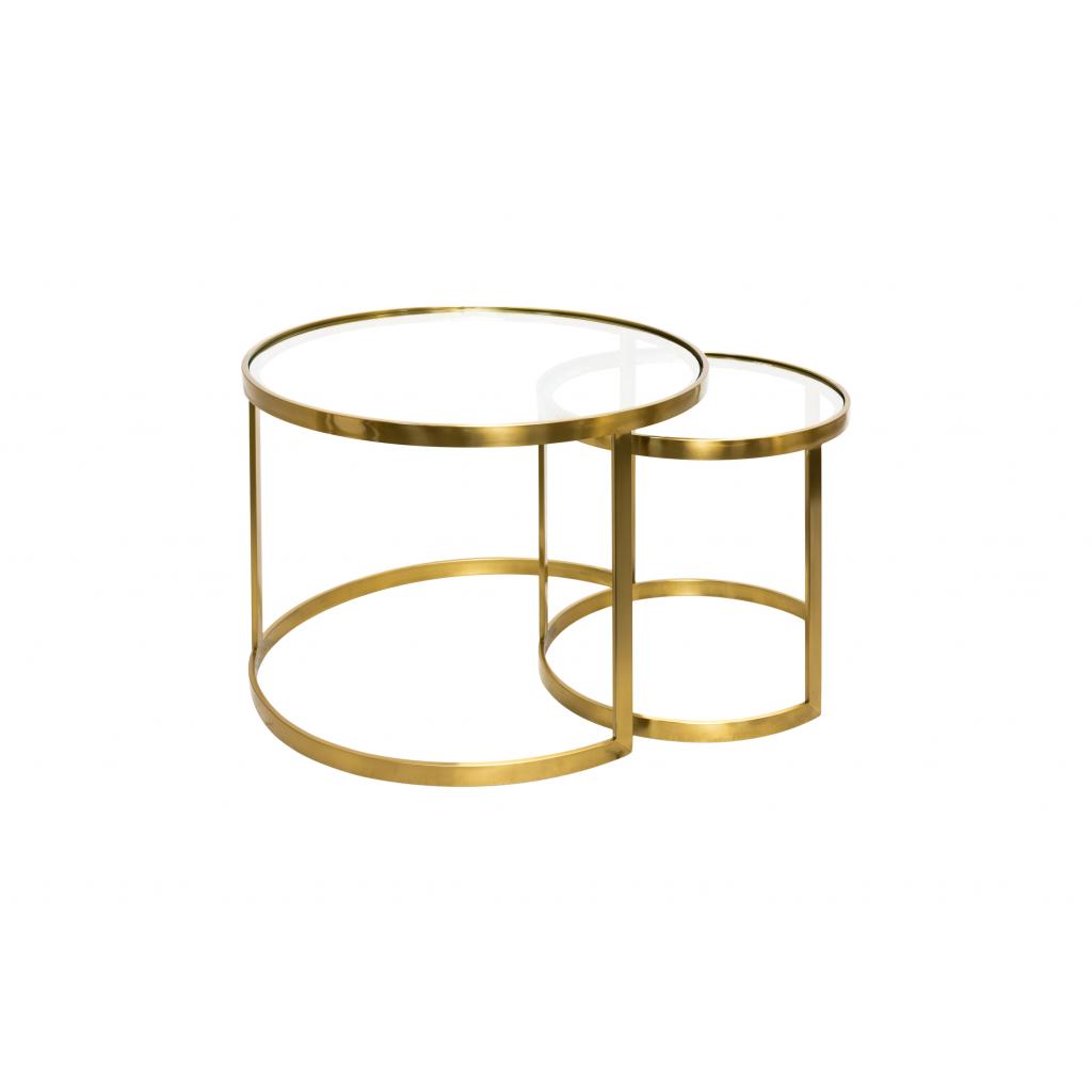 Set De Deux Tables En Verre Et Laiton Aula Cuivre