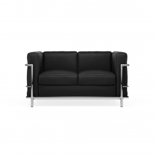 Canapé design cuir 2 places 'Loveseat'-  inspiré du design LC2