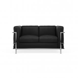Ledere Sofa 2 zitter 'Loverseat'  - Inspiratie LC2 design