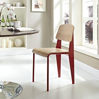 Standaard houten stoel en metalen voeten - inspiratie Jean Prouvé