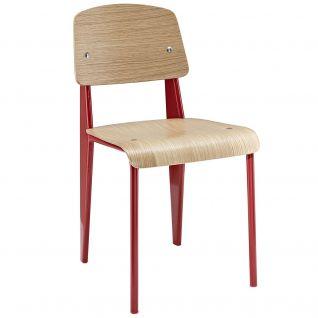 Chaise Standard en bois et pieds en métal - inspiration Jean Prouvé