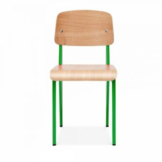 Standard wooden chair and metal legs - Jean Prouvé inspiration