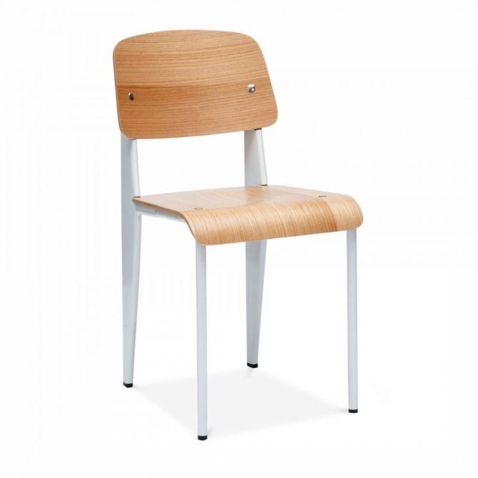 chaise standard bois et pieds m tal inspiration prouv. Black Bedroom Furniture Sets. Home Design Ideas