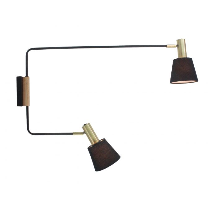 Lampe murale noire et dorée Victoria