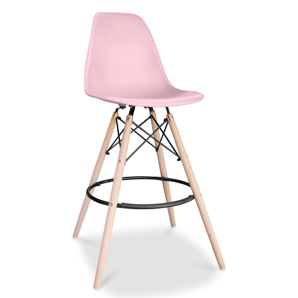tabouret de bar dsw eames en plastique et bois. Black Bedroom Furniture Sets. Home Design Ideas