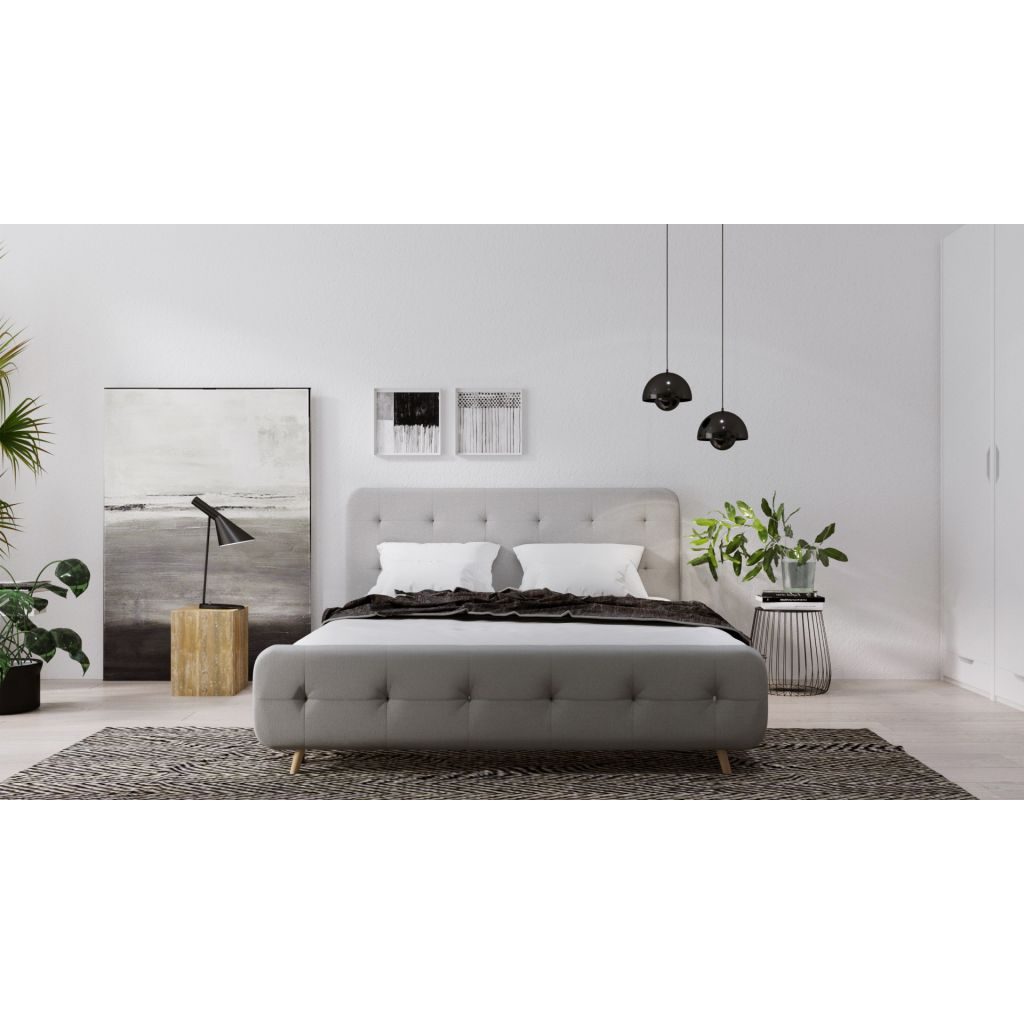 lit double 160 cm jellybean encadrement de lit en tissu. Black Bedroom Furniture Sets. Home Design Ideas