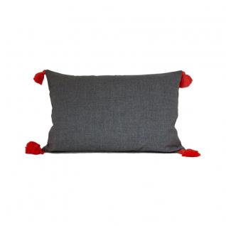 Uni rectangular pillow with pompoms - 40x60 cm