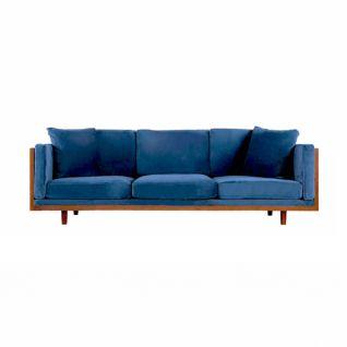 3-zitsbank in hout en blauw fluweel JaMes