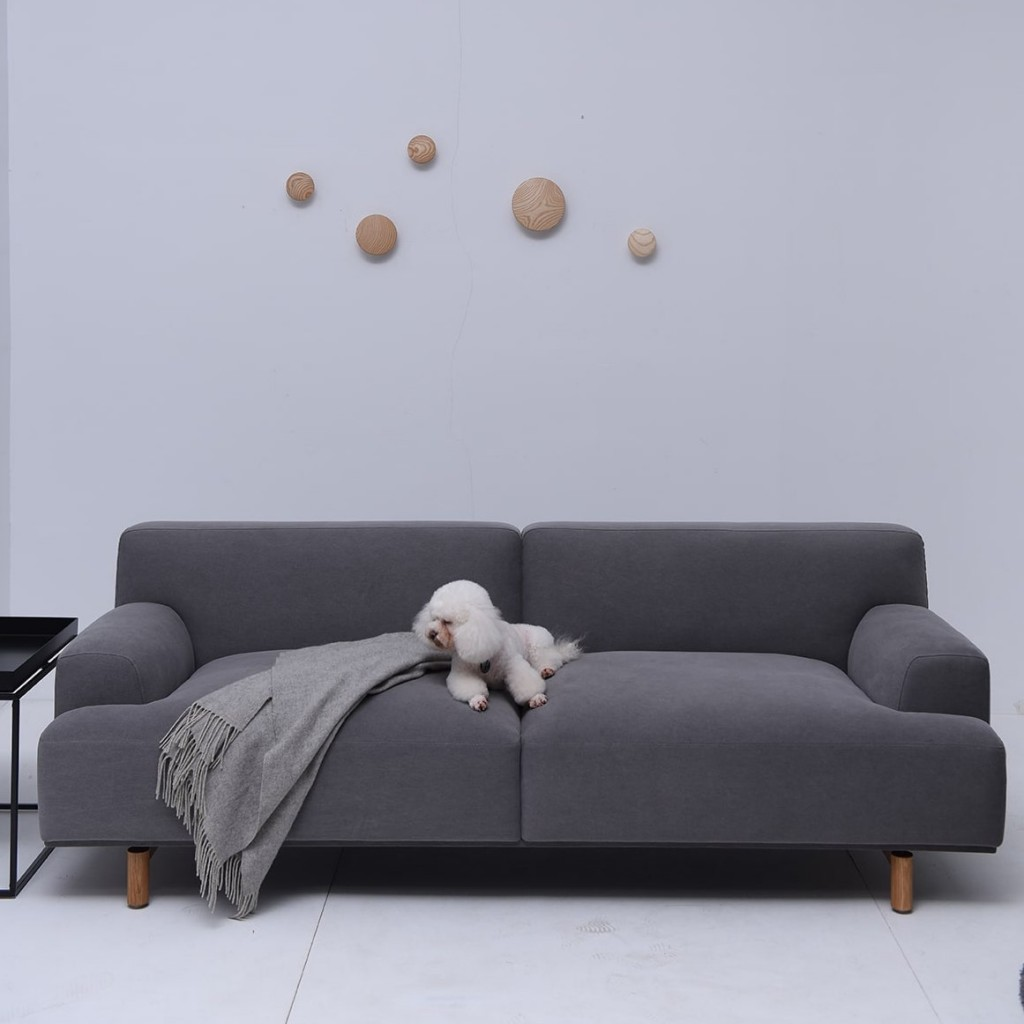 Jones 3 Seater Grey Fabric Sofa With Wooden Feet