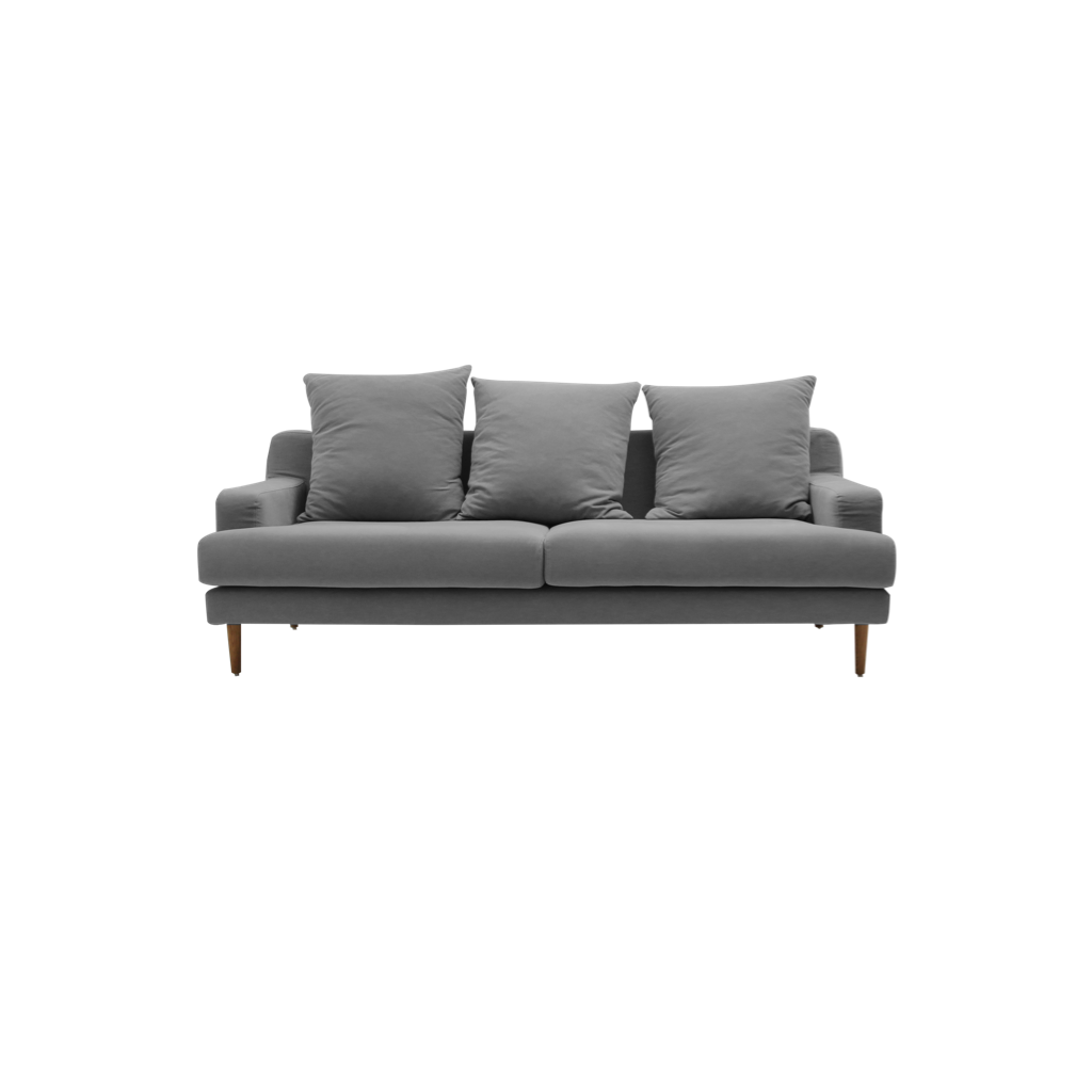 canape moderne 3 places en tissu gris avec pieds en bois lena diiiz
