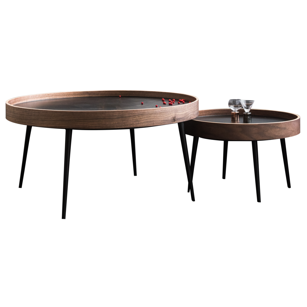Wooden And Metal Trundle Table Altas Modern Round Low Tables