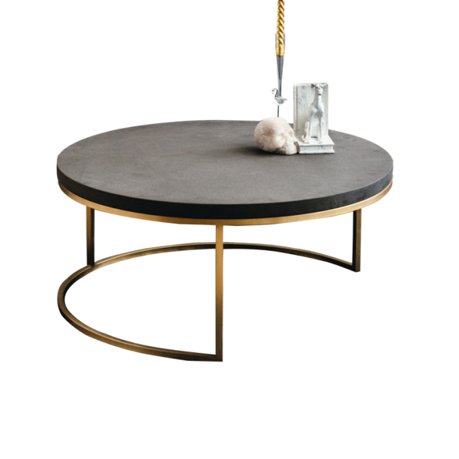 Round cement coffee table - Eclipse