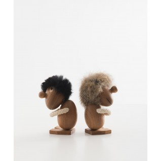 Wooden figures Opitmist and Pessimist inspired by Hans Bolling